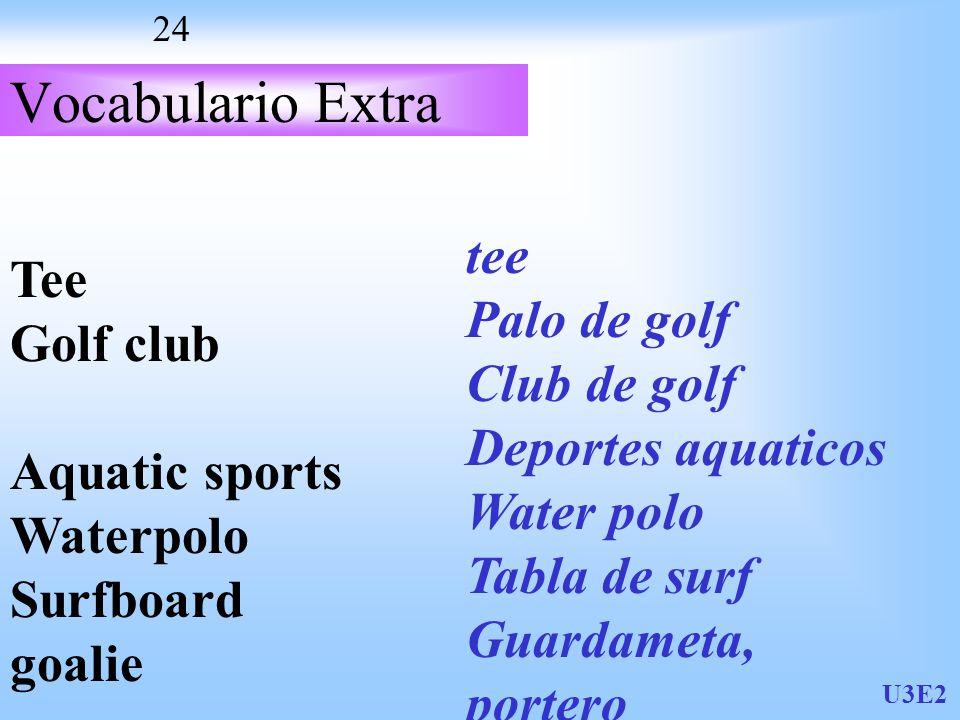 U3E2 24 Vocabulario Extra Tee Golf club Aquatic sports Waterpolo Surfboard goalie tee Palo de golf Club de golf Deportes aquaticos Water polo Tabla de surf Guardameta, portero