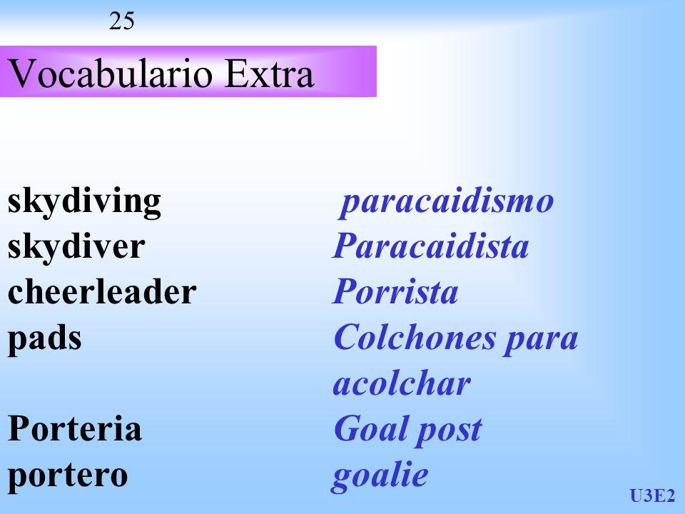 U3E2 25 Vocabulario Extra skydiving skydiver cheerleader pads Porteria portero paracaidismo Paracaidista Porrista Colchones para acolchar Goal post goalie