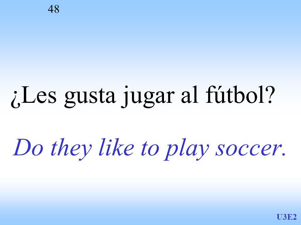 U3E2 48 Do they like to play soccer. ¿Les gusta jugar al fútbol