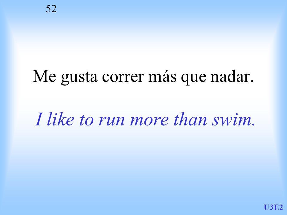U3E2 52 Me gusta correr más que nadar. I like to run more than swim.