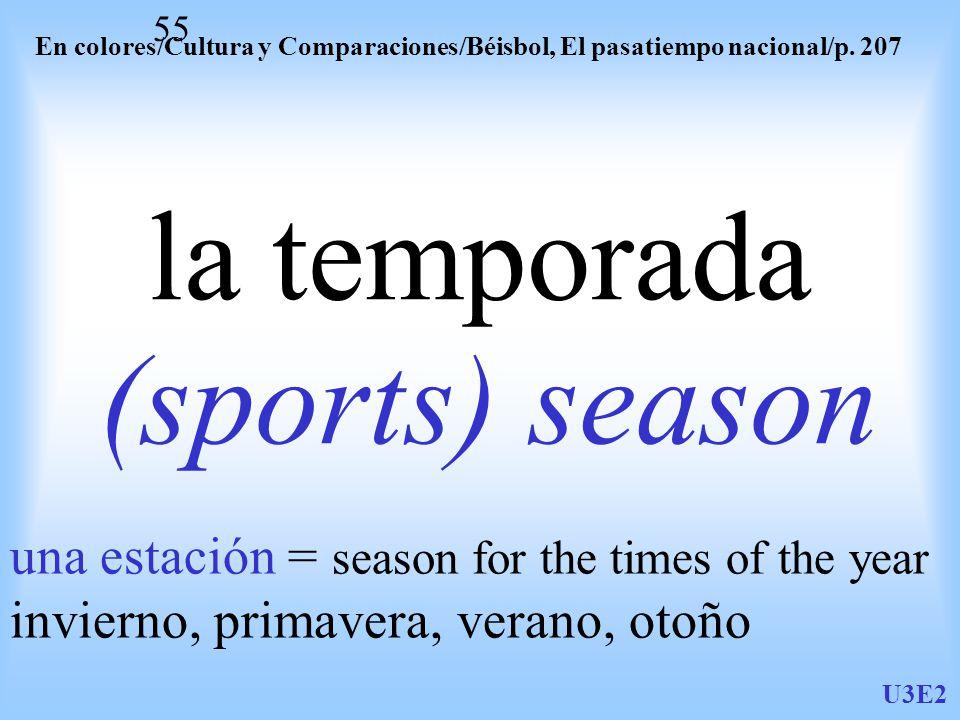 U3E2 55 la temporada (sports) season En colores/Cultura y Comparaciones/Béisbol, El pasatiempo nacional/p.