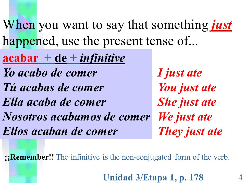 Unidad 3/Etapa 1, p. 178 4 When you want to say that something just happened, use the present tense of... acabar + de + infinitive Yo acabo de comer T