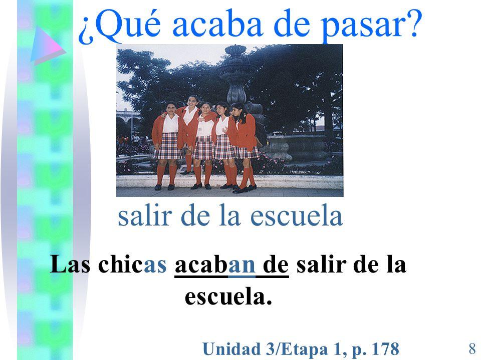 Unidad 3/Etapa 1, p. 178 8 ¿Qué acaba de pasar? salir de la escuela Las chicas acaban de salir de la escuela.