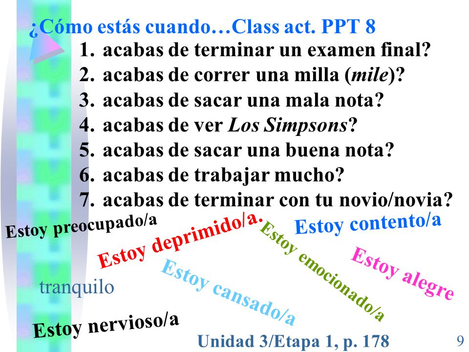 Unidad 3/Etapa 1, p.178 9 ¿Cómo estás cuando…Class act.