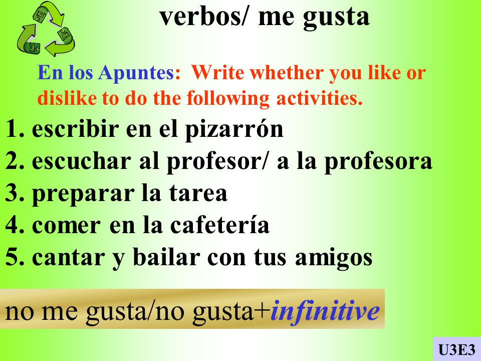 verbos/ me gusta En los Apuntes: Write whether you like or dislike to do the following activities.