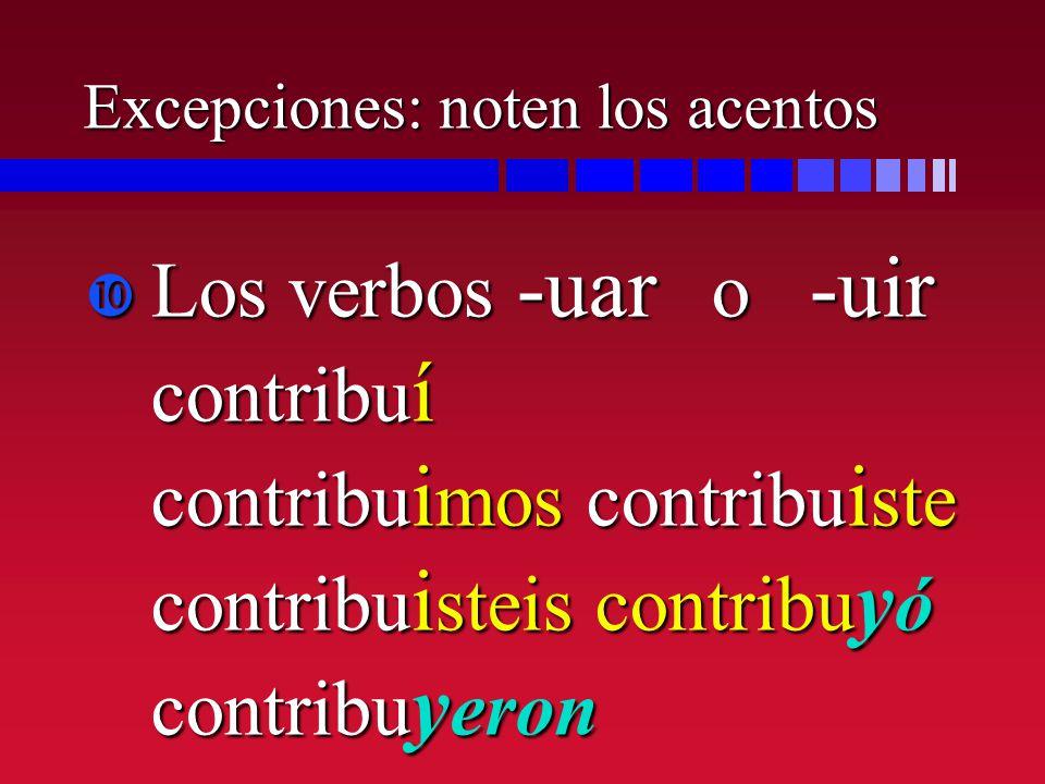 Excepciones: noten los acentos Los verbos -uar o -uir contribu í contribu i mos contribu i ste contribu i steis contribu y ó contribu y eron Los verbo
