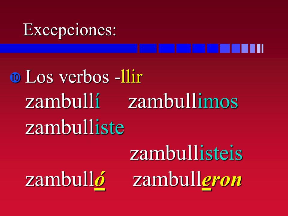 Excepciones: Los verbos -llir zambullí zambullimos zambulliste zambullisteis zambulló zambulleron Los verbos -llir zambullí zambullimos zambulliste za