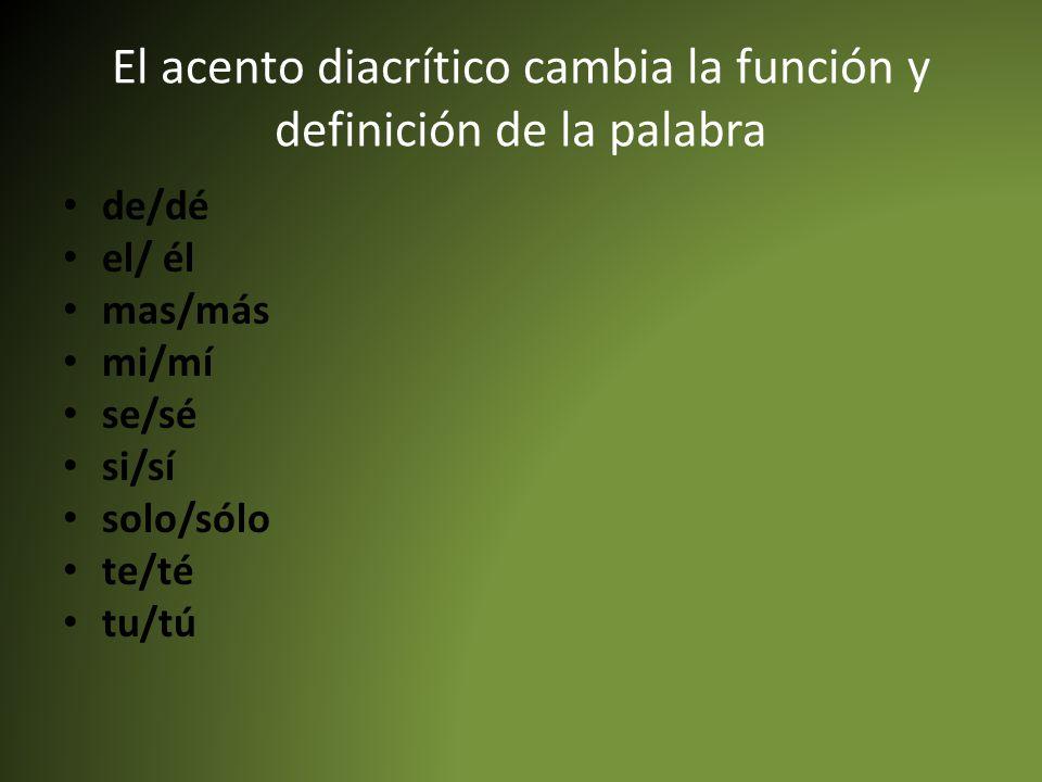El acento diacrítico cambia la función y definición de la palabra de/dé el/ él mas/más mi/mí se/sé si/sí solo/sólo te/té tu/tú