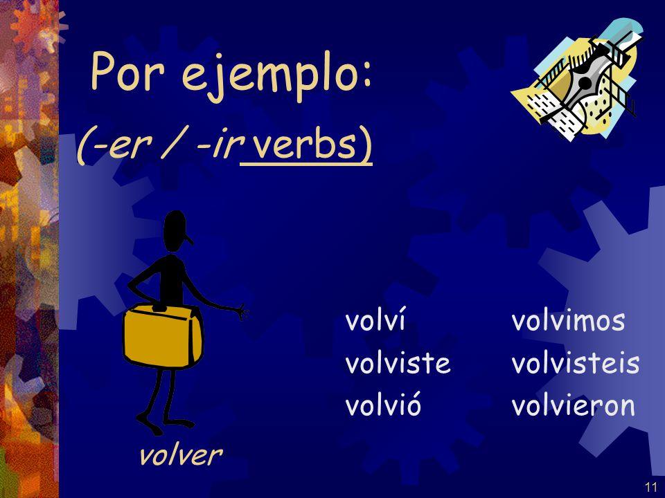 11 (-er / -ir verbs) volví volviste volvió volvimos volvisteis volvieron Por ejemplo: volver
