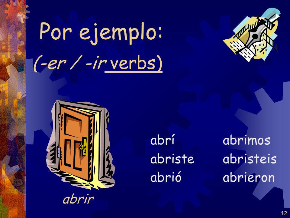 12 (-er / -ir verbs) abrí abriste abrió abrimos abristeis abrieron Por ejemplo: abrir