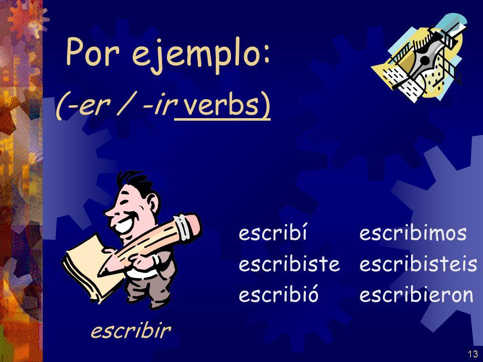 13 (-er / -ir verbs) escribí escribiste escribió escribimos escribisteis escribieron Por ejemplo: escribir