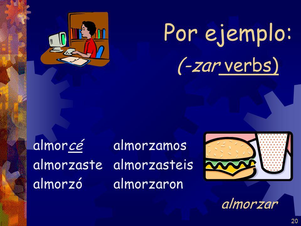 20 (-zar verbs) almorcé almorzaste almorzó almorzamos almorzasteis almorzaron Por ejemplo: almorzar