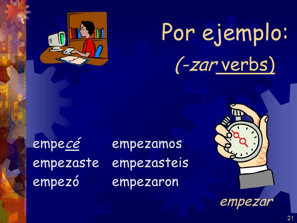 21 (-zar verbs) empecé empezaste empezó empezamos empezasteis empezaron Por ejemplo: empezar