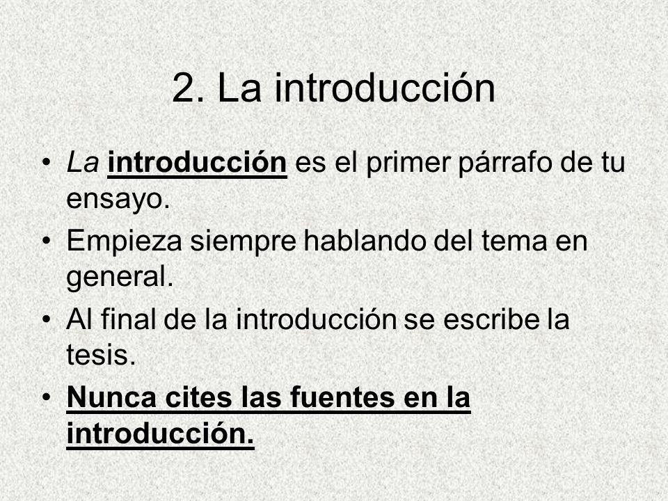 Partes de un ensayo 1.El título 2.La introducción 3.Los tres párrafos centrales 4.La conclusión Introducción Parrafo#1 Parrafo#2 Parrafo#3 Conclusión
