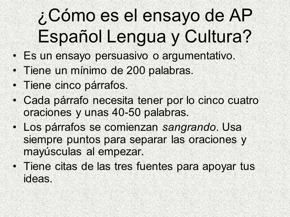 ¿Cómo es el ensayo de AP Español Lengua y Cultura.