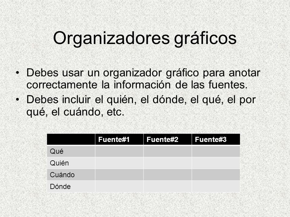 Organizadores gráficos Debes usar un organizador gráfico para anotar correctamente la información de las fuentes.