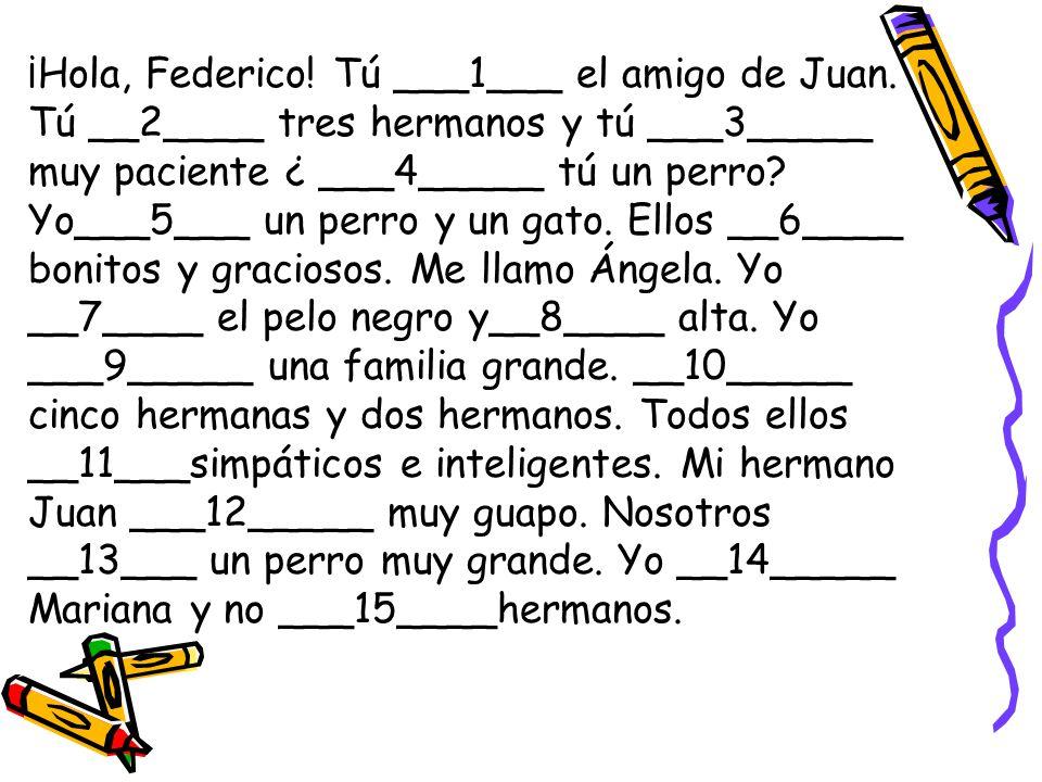 ¡Hola, Federico! Tú ___1___ el amigo de Juan. Tú __2____ tres hermanos y tú ___3_____ muy paciente ¿ ___4_____ tú un perro? Yo___5___ un perro y un ga