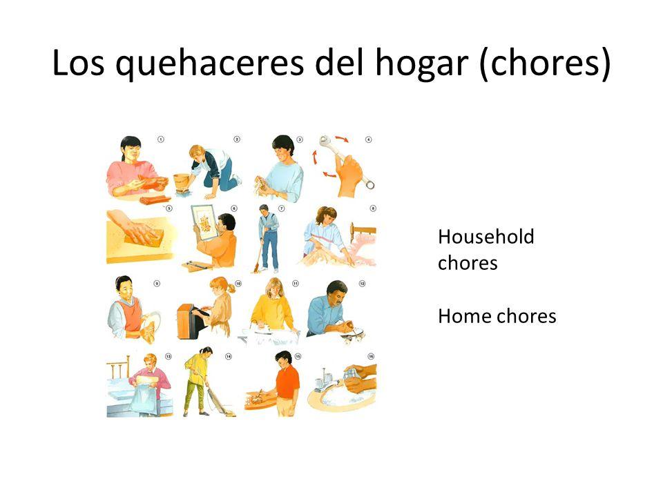 Los quehaceres del hogar (chores) Household chores Home chores