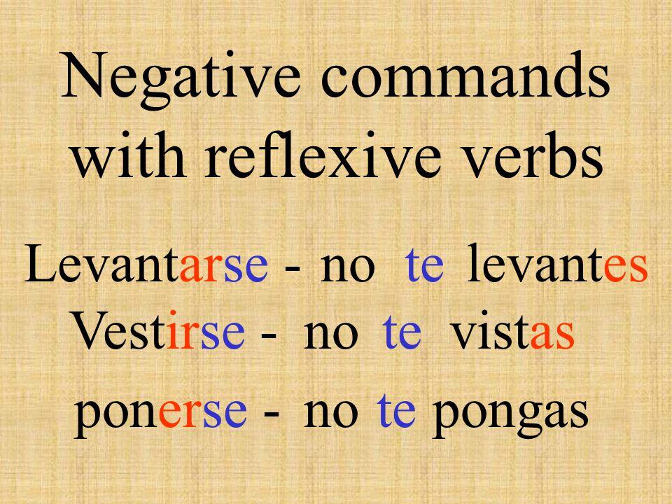 Negative venir - tener - salir - poner - hacer – ser - decir - no vengas no tengas no salgas no pongas no hagas no seas no digas ir - valer- no vayas