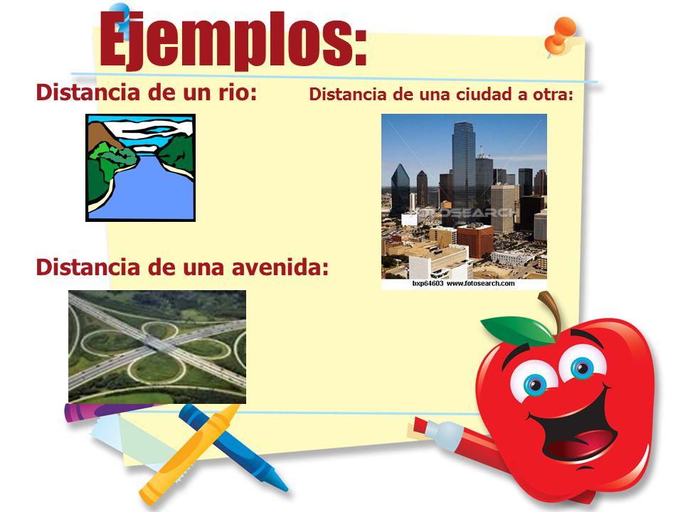 Ejemplos: Distancia de un rio: Distancia de una ciudad a otra: Distancia de una avenida: