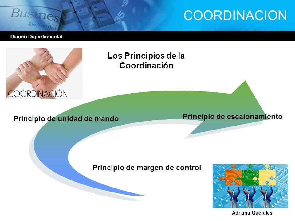 COORDINACION Diseño Departamental Adriana Querales Los Principios de la Coordinación Principio de unidad de mando Principio de escalonamiento Principi