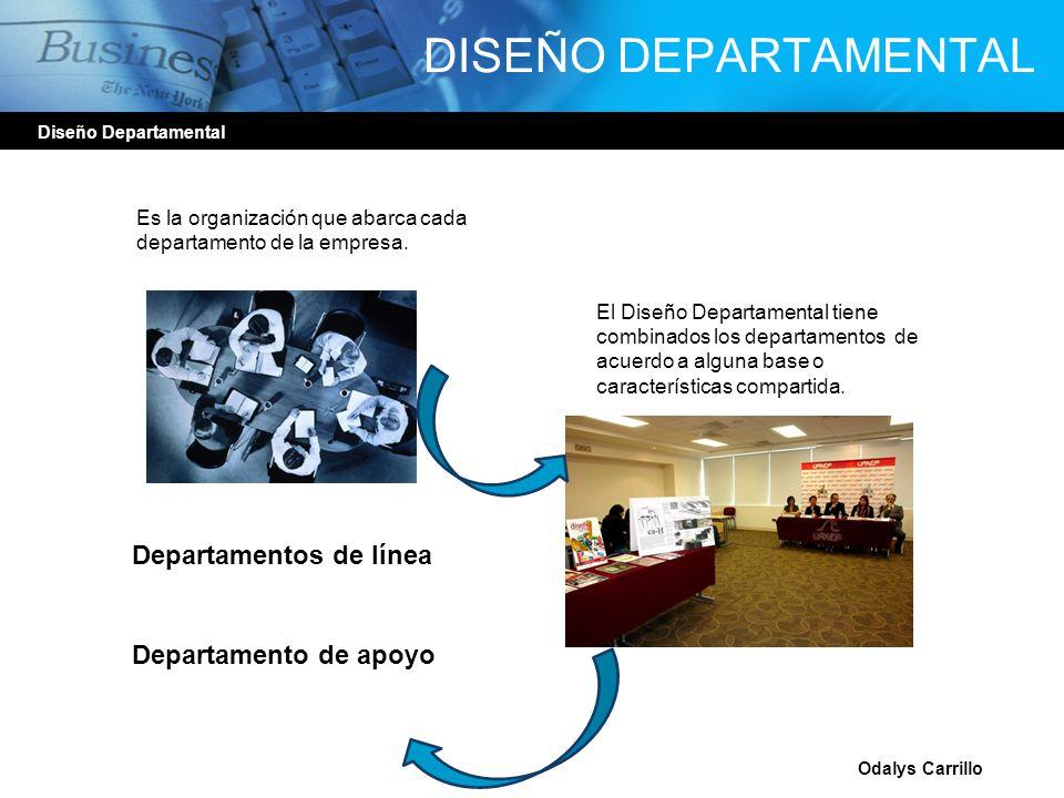 Diseño Departamental Odalys Carrillo DISEÑO DEPARTAMENTAL Es la organización que abarca cada departamento de la empresa. El Diseño Departamental tiene