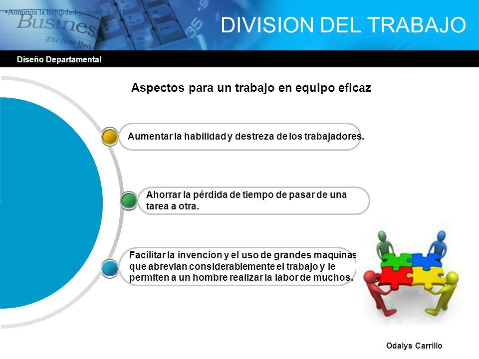 Diseño Departamental Odalys Carrillo DIVISION DEL TRABAJO Facilitar la invencion y el uso de grandes maquinas que abrevian considerablemente el trabaj