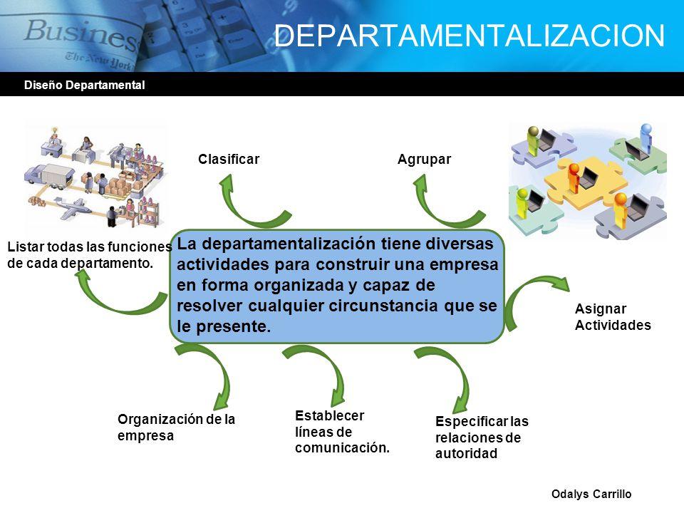 DEPARTAMENTALIZACION Diseño Departamental Odalys Carrillo La departamentalización tiene diversas actividades para construir una empresa en forma organ