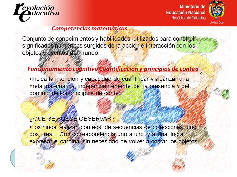 Instrumento Diagnóstico de Competencias Básicas en Transición Competencia matemática Funcionamiento Cognitivo Descriptoressugerencias Cuantificación y principios de conteo A.