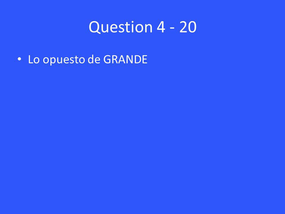 Question 4 - 20 Lo opuesto de GRANDE