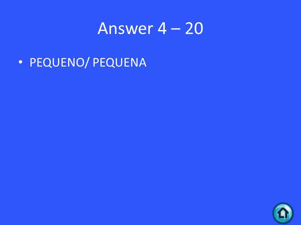 Answer 4 – 20 PEQUENO/ PEQUENA