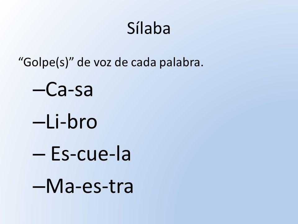 Sílaba Golpe(s) de voz de cada palabra. – Ca-sa – Li-bro – Es-cue-la – Ma-es-tra