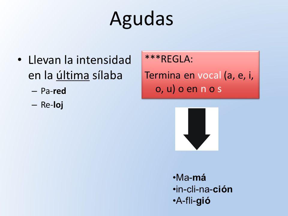Agudas Llevan la intensidad en la última sílaba – Pa-red – Re-loj ***REGLA: Termina en vocal (a, e, i, o, u) o en n o s ***REGLA: Termina en vocal (a,