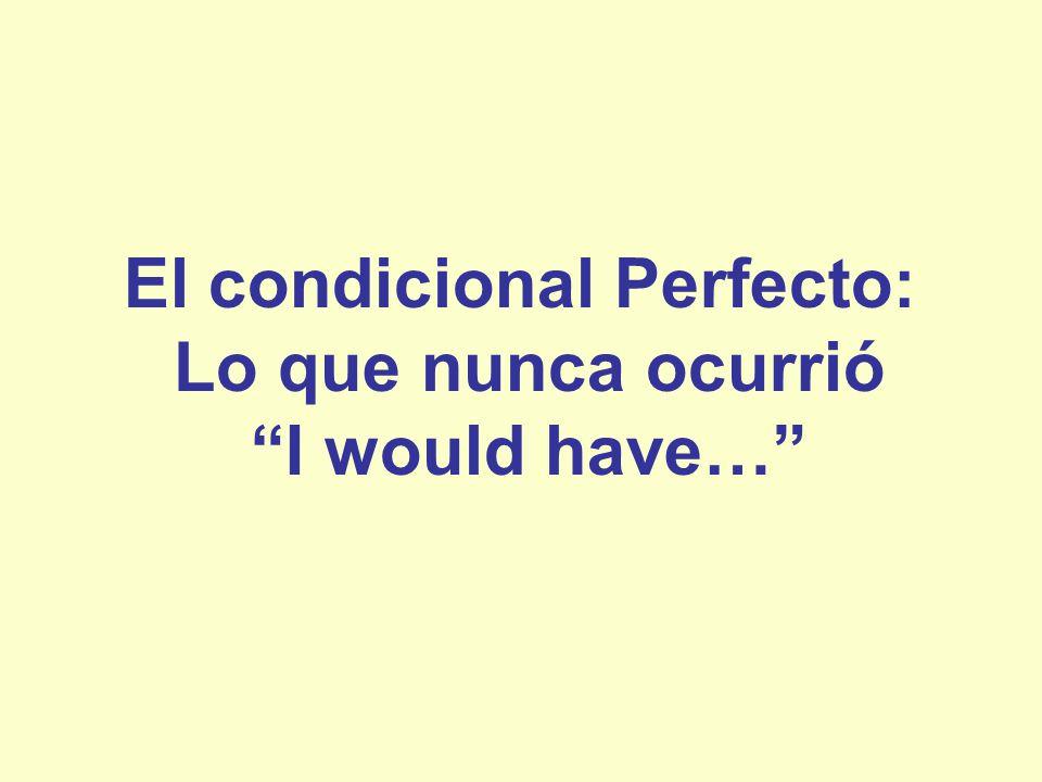 El condicional perfecto Se usa para: –Hablar en el pasado de una acción que no se realizó.