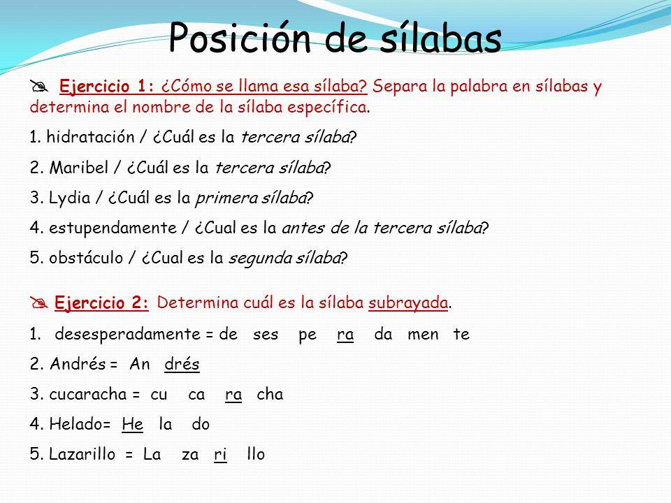 Posición de sílabas Ejercicio 1: ¿Cómo se llama esa sílaba? Separa la palabra en sílabas y determina el nombre de la sílaba específica. 1. hidratación