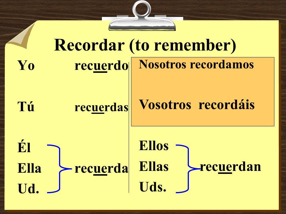 Jugar (to play a sport or activity) Yojuego Tújuegas Él Ellajuega Ud. Nosotros jugamos Vosotros jugáis Ellos Ellas juegan Uds.