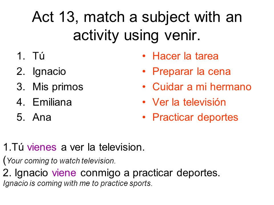 Act 13, match a subject with an activity using venir.