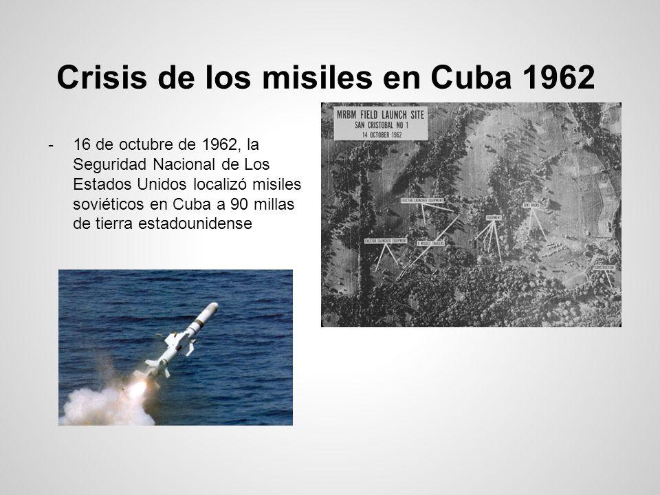 Crisis de los misiles en Cuba 1962 -16 de octubre de 1962, la Seguridad Nacional de Los Estados Unidos localizó misiles soviéticos en Cuba a 90 millas