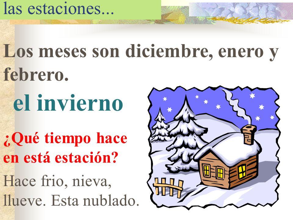 las estaciones... Los meses son diciembre, enero y febrero. el invierno ¿Qué tiempo hace en está estación? Hace frio, nieva, llueve. Esta nublado.