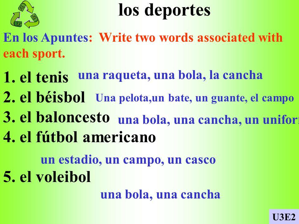 los deportes En los Apuntes: Write two words associated with each sport.