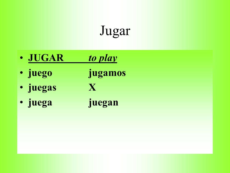 Draw T-charts for Jugar Pensar Preferir empezar