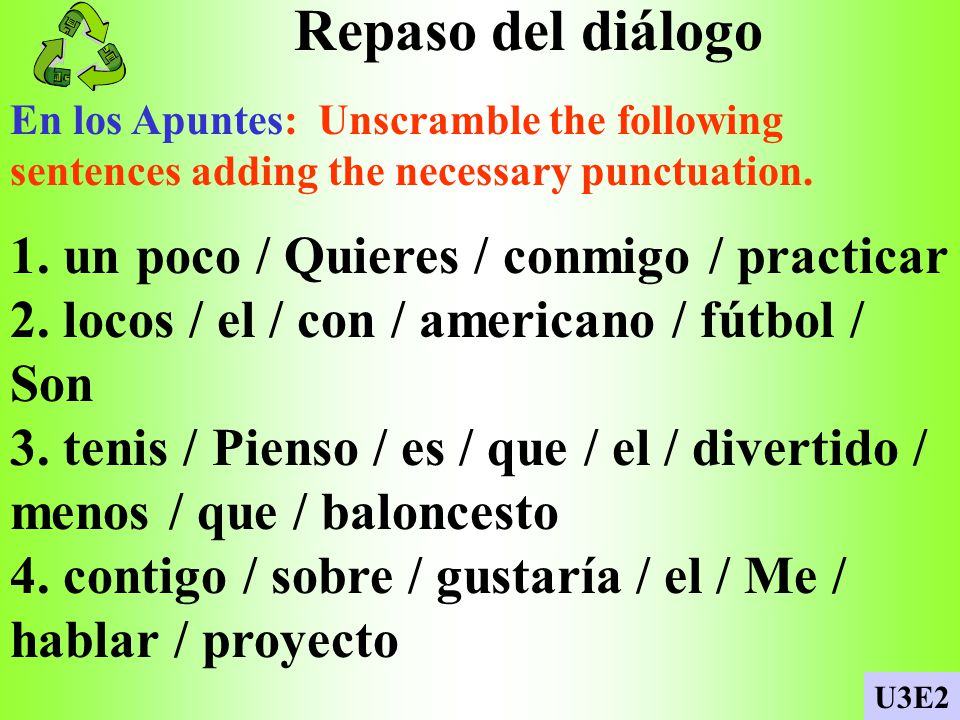 Tus preferencias En los Apuntes: Use your vocab notes to answer these questions. 1. ¿Cuál es tu deporte favorito? 2. ¿Dónde se practica? 3. ¿Cuántas p