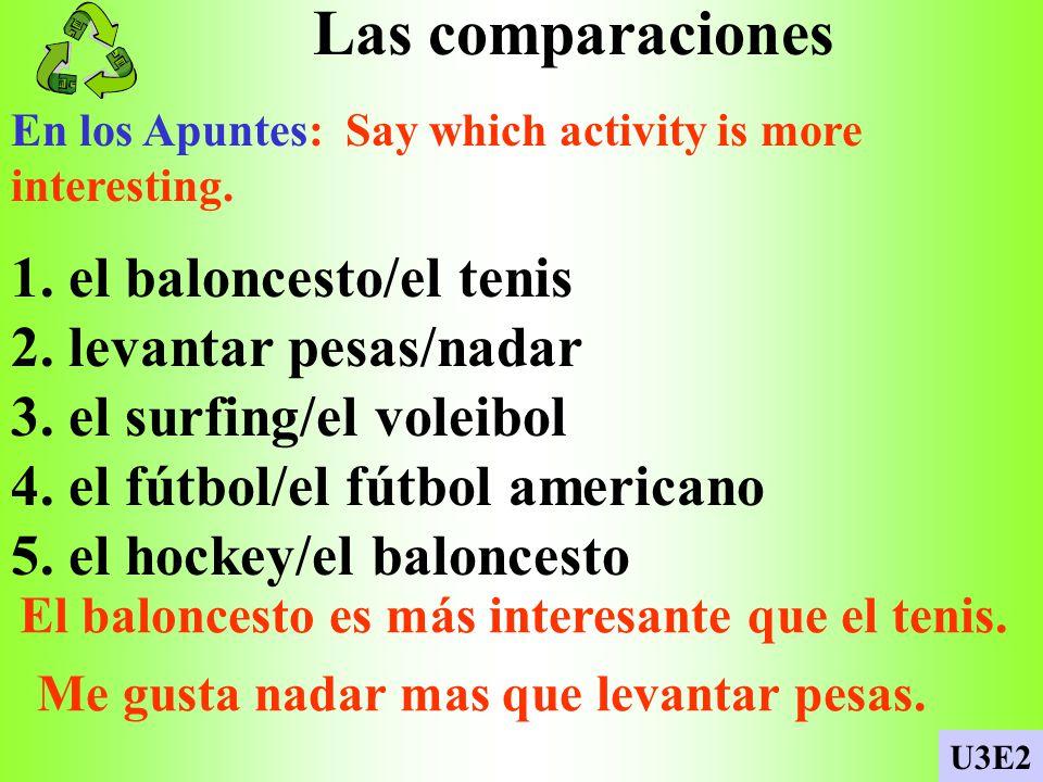 Las comparaciones En los Apuntes: Say which activity is more interesting.