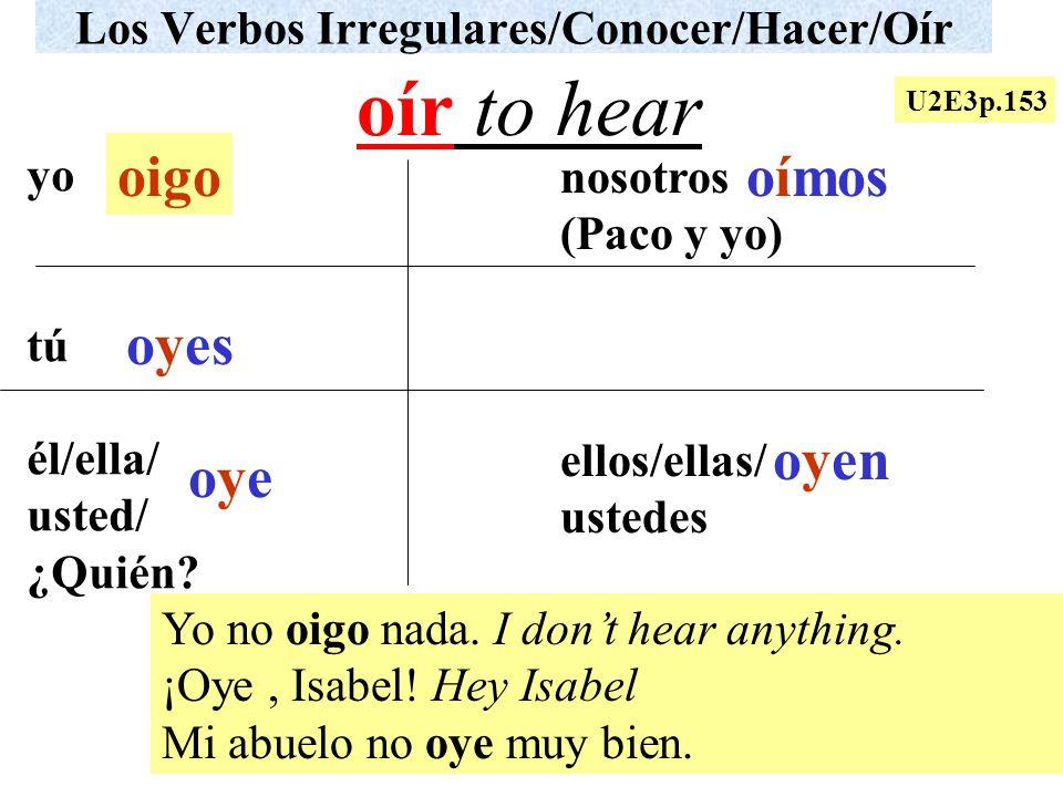 Los Verbos Irregulares/Conocer/Hacer/Oír yo tú él/ella/ usted/ ¿Quién? nosotros (Paco y yo) ellos/ellas/ ustedes Yo no oigo nada. I dont hear anything
