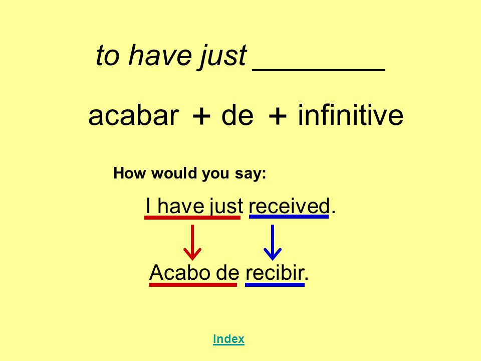to have just ________ acabar + de + infinitive How would you say: I have just received. Acabo derecibir. Index
