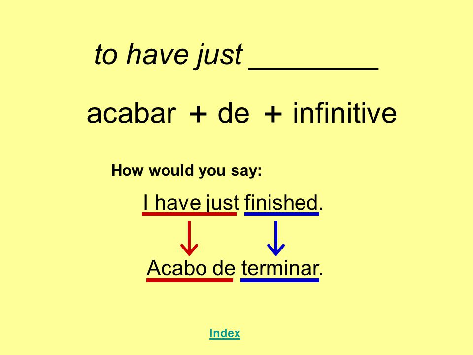to have just ________ acabar + de + infinitive How would you say: I have just finished.