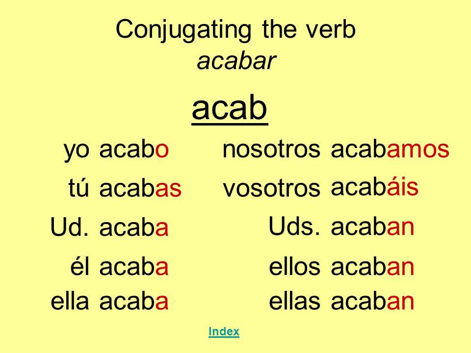 Conjugating the verb acabar Index yoacabo acabar túacabas Ud.acaba élacaba nosotrosacabamos Uds.acaban ellosacaban ellaacabaellasacaban vosotros acabá
