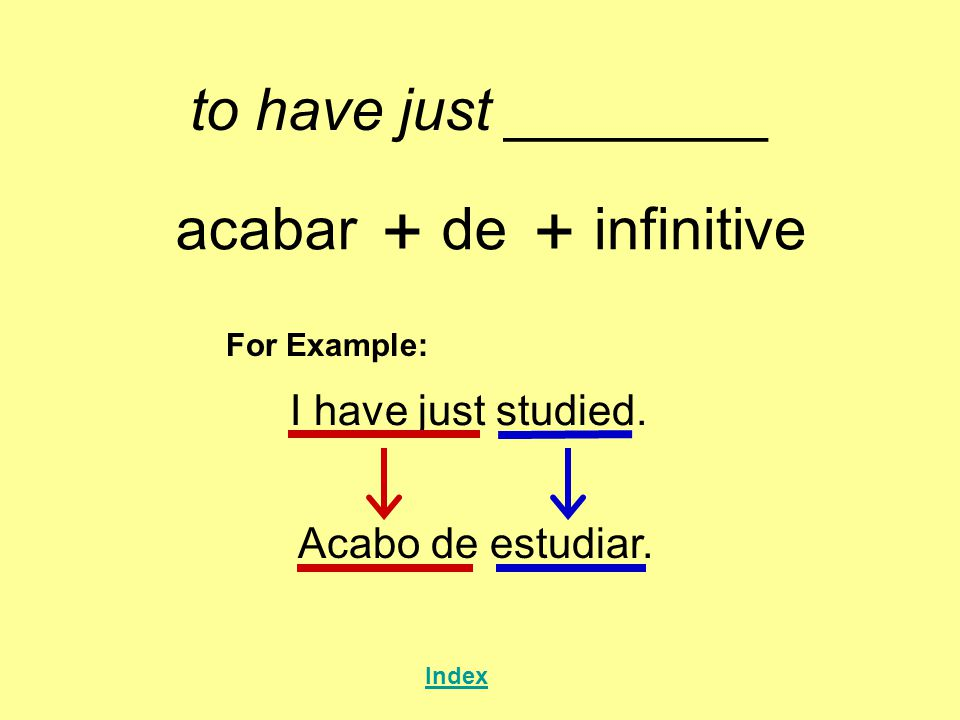 to have just ________ acabar + de + infinitive For Example: I have just studied.