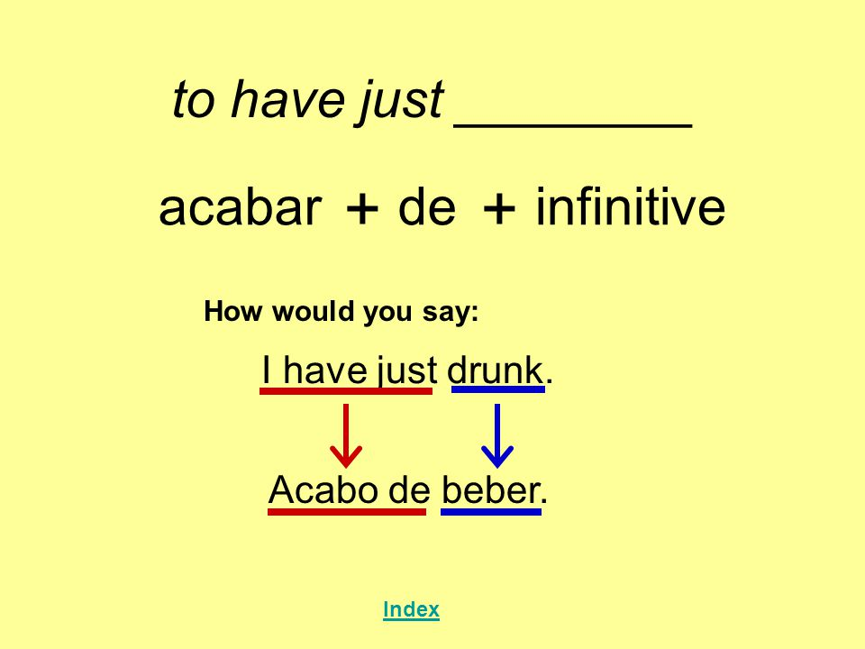 to have just ________ acabar + de + infinitive How would you say: I have just drunk.