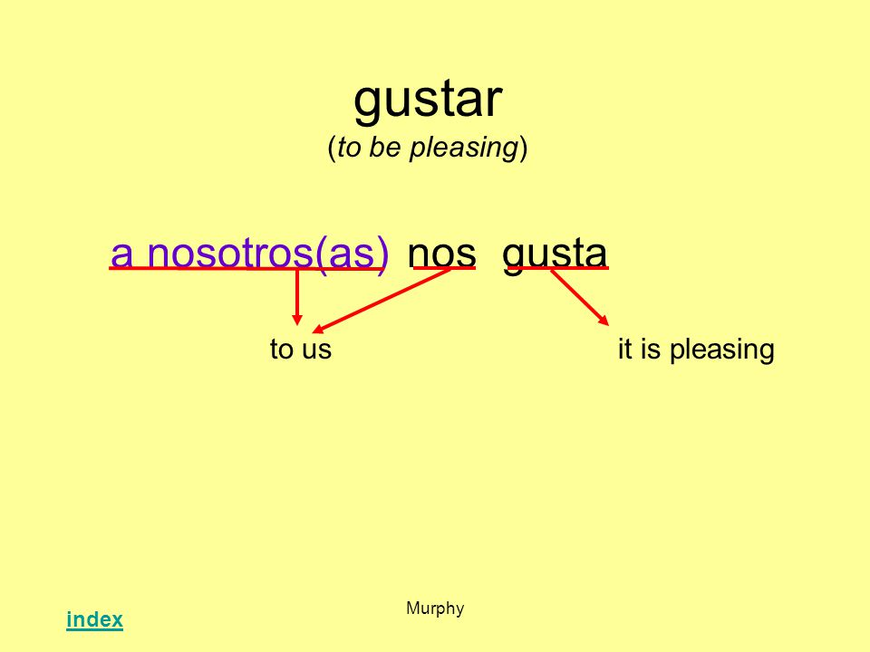 Murphy gustar (to be pleasing) nosgusta it is pleasingto us a nosotros(as) index